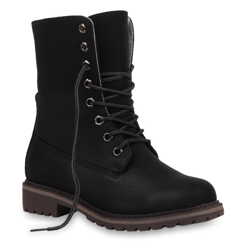 Warm Gefütterte Winter Boots Damen Stiefeletten & Stiefel 99879 Gr. 36-41
