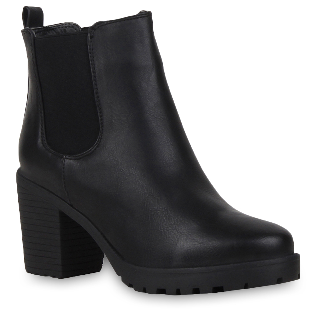 neu damen stiefeletten chelsea boots profilsohle blockabsatz schuhe 173 082 ebay. Black Bedroom Furniture Sets. Home Design Ideas