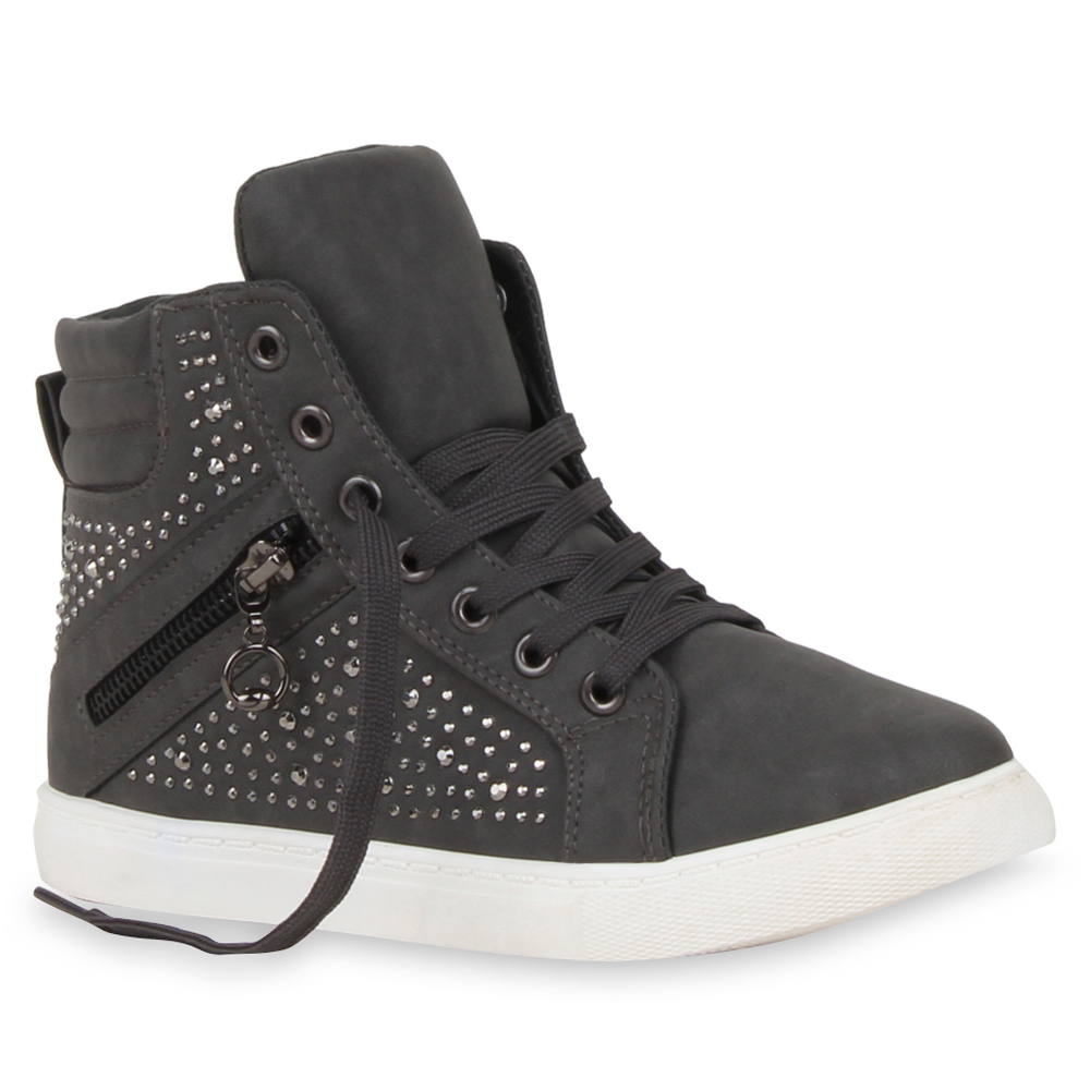 Damen High Top Sneakers Strass Zipper Sportschuhe 99642 Trendy