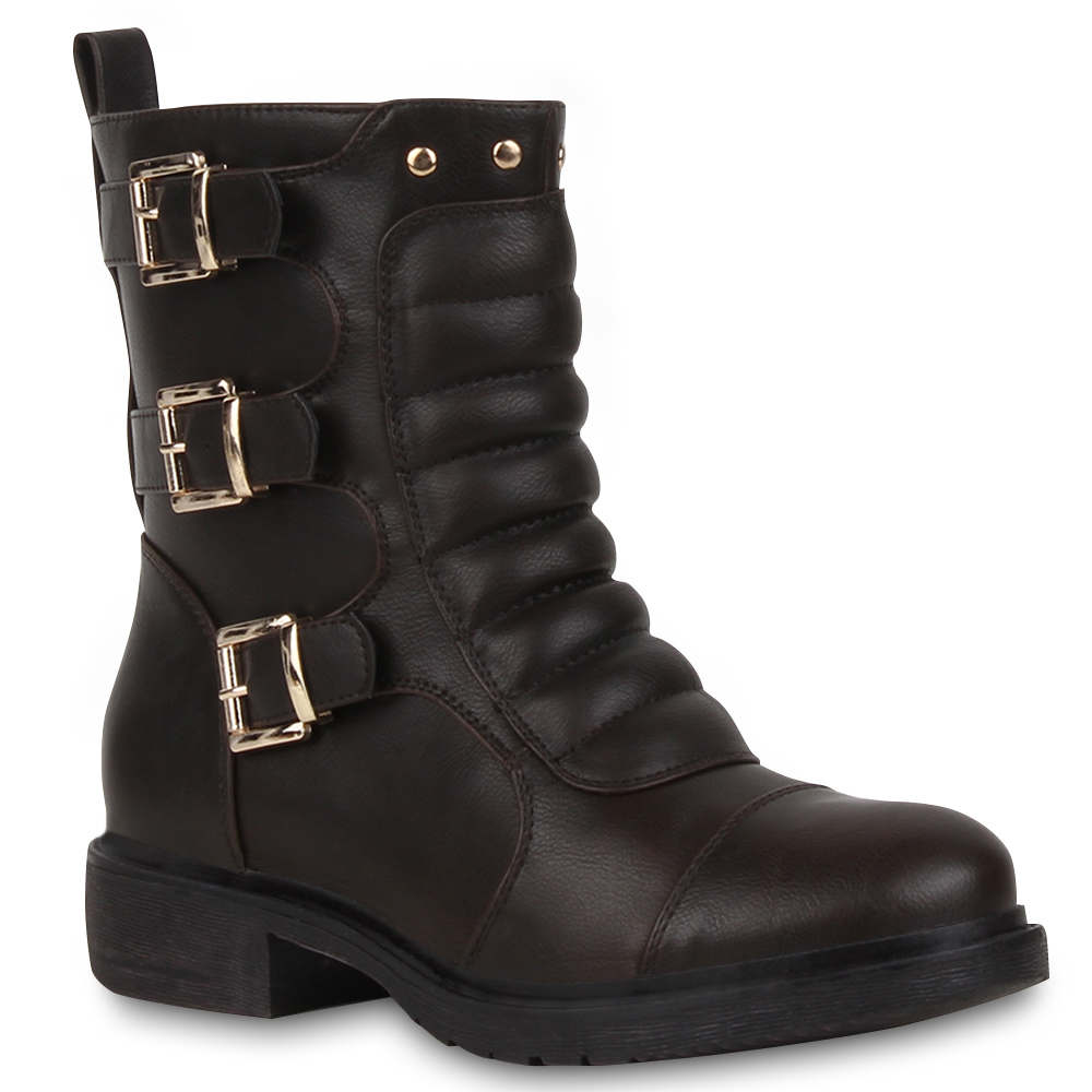 Gesteppte Damen Stiefeletten Biker Boots Schnallen Schuhe 73115