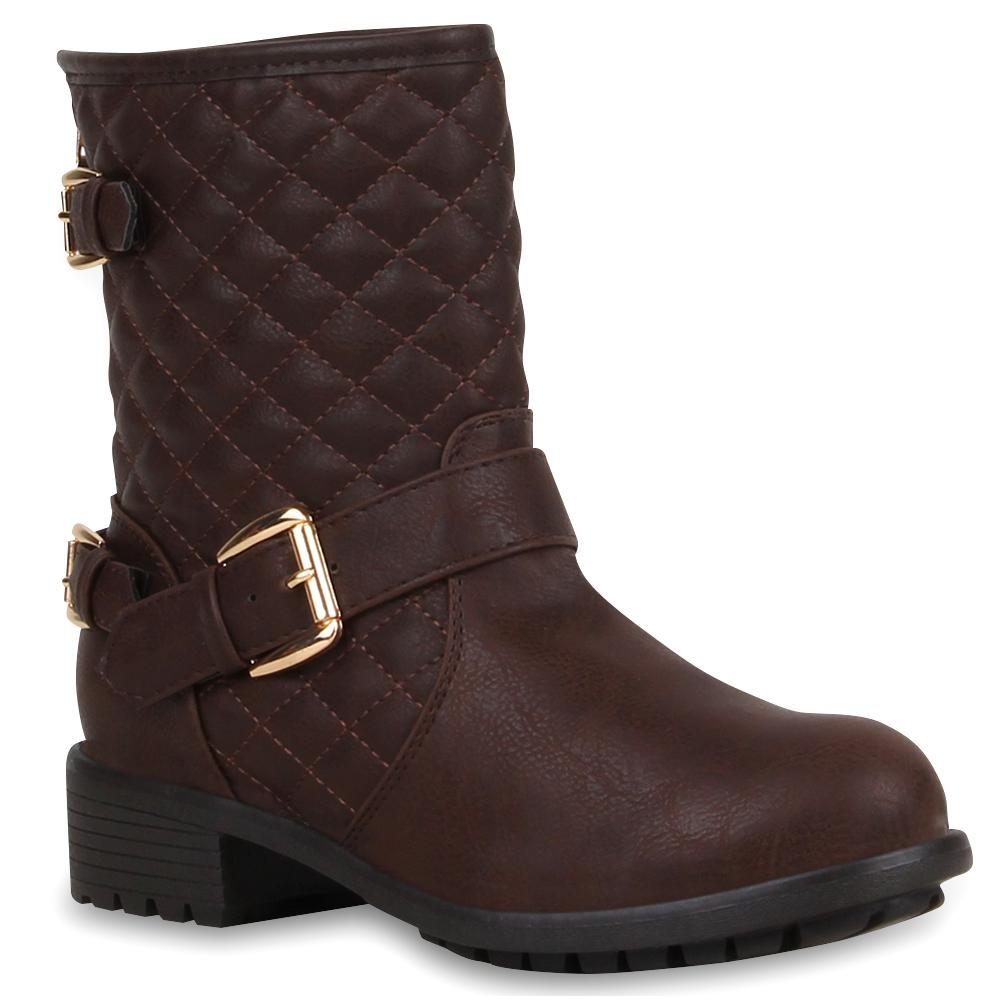 Gesteppte Damen Stiefeletten Biker Boots Stiefel Schuhe 73118