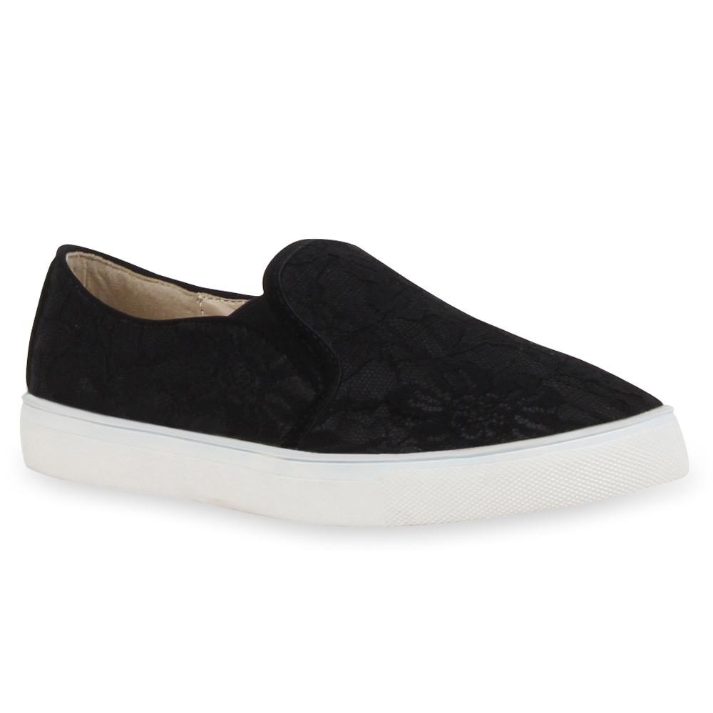 angesagte damen slip ons sneakers slipper spitze 73162 ebay. Black Bedroom Furniture Sets. Home Design Ideas