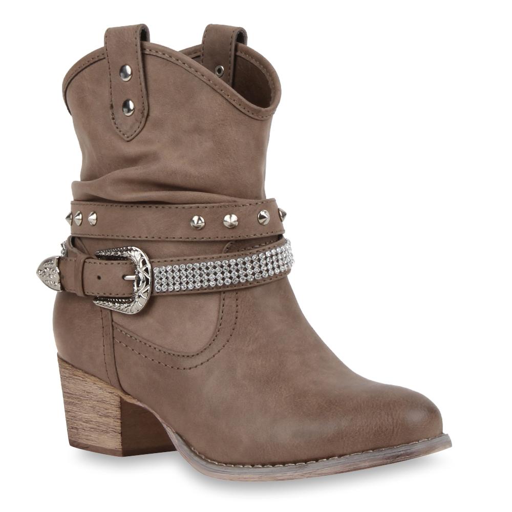 damen cowboy boots western stiefeletten strass nieten 73168 ebay. Black Bedroom Furniture Sets. Home Design Ideas