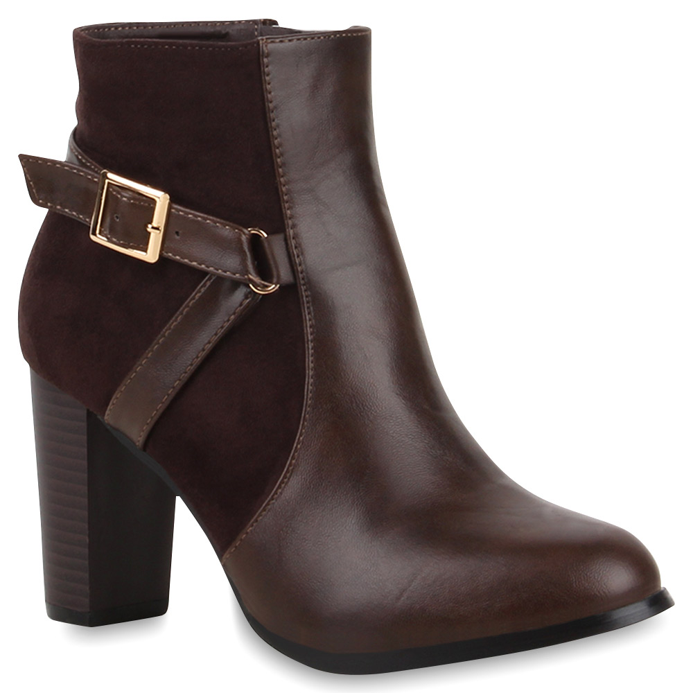 damen stiefeletten blockabsatz boots high heels. Black Bedroom Furniture Sets. Home Design Ideas