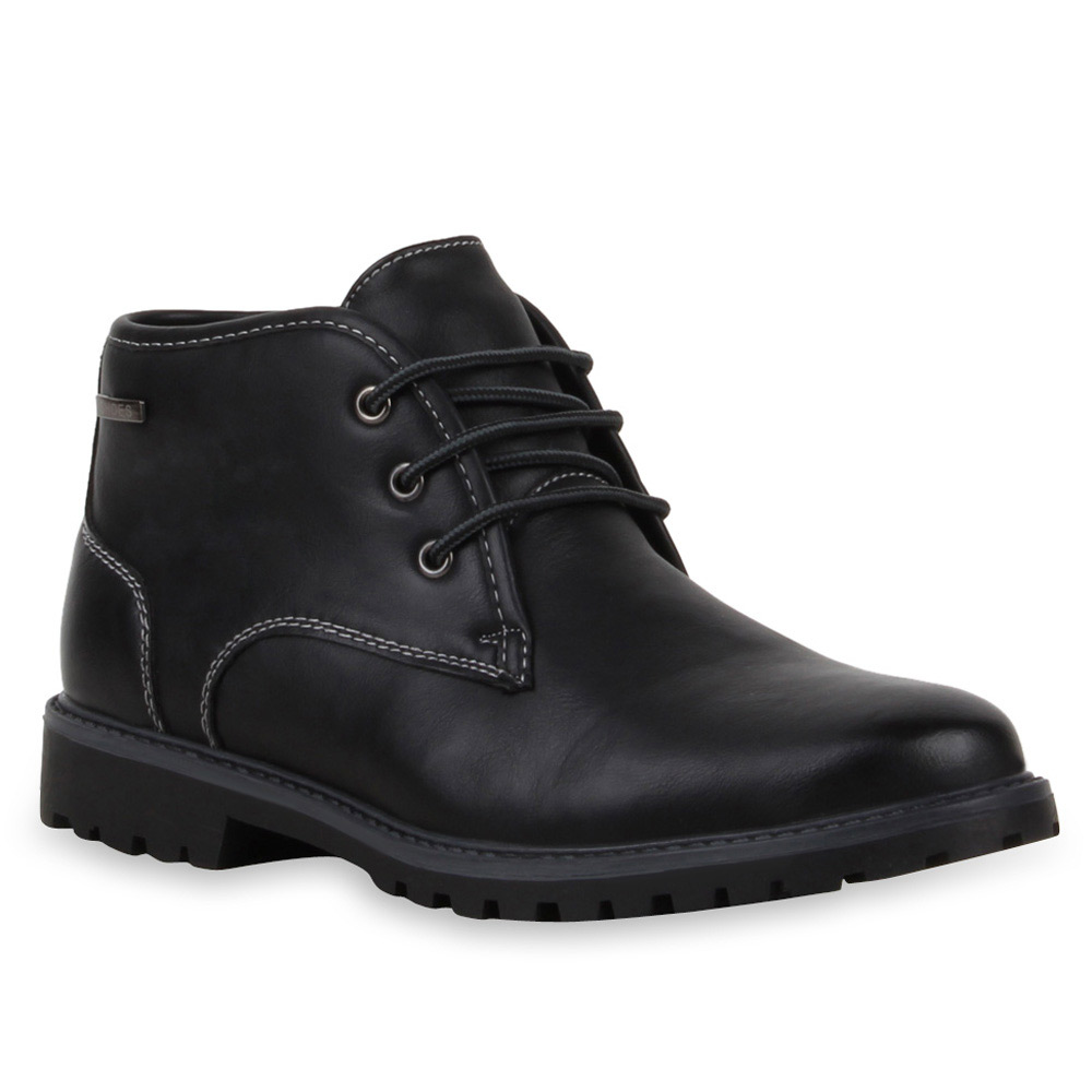 Gefütterte Damen & Herren Worker Boots Stiefeletten Schnürer 99687 Gr. 36-46