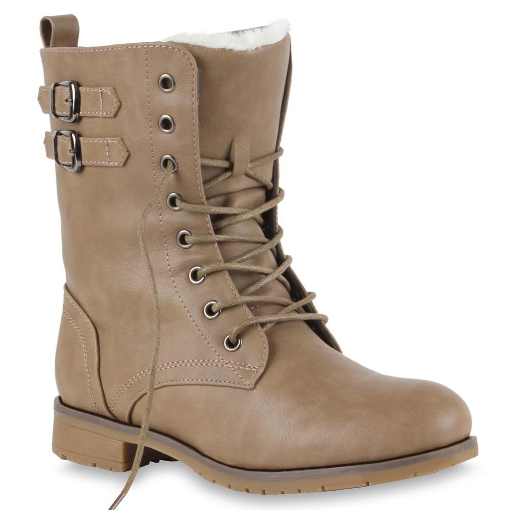 warm gef tterte damen stiefeletten worker boots schuhe. Black Bedroom Furniture Sets. Home Design Ideas