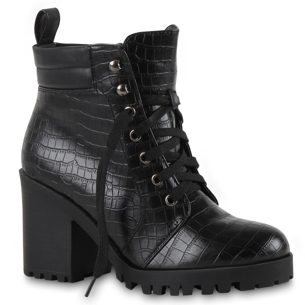 Damen Stiefeletten Blockabsatz Chunky Heels Kroko Boots 73342