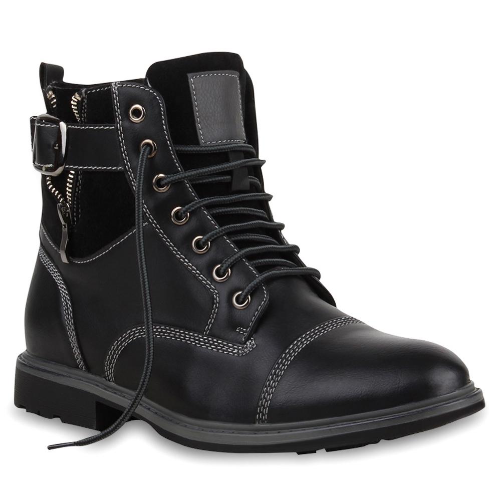Herren Biker Boots Derbe Stiefel Lederoptik Schuhe 99603 Gr. 40-45 Top