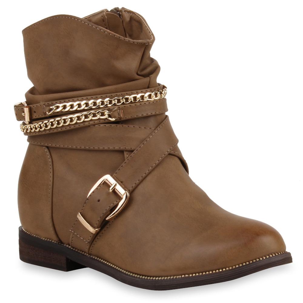 damen weitschaft stiefeletten keilabsatz boots ketten stiefel 73444 ebay. Black Bedroom Furniture Sets. Home Design Ideas