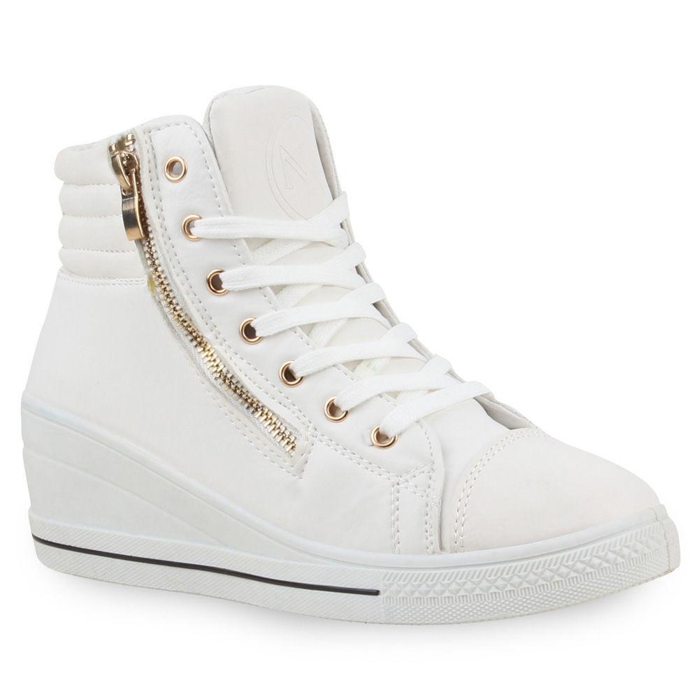 damen sneaker wedges high top sneakers keilabsatz zipper 73459 ebay. Black Bedroom Furniture Sets. Home Design Ideas