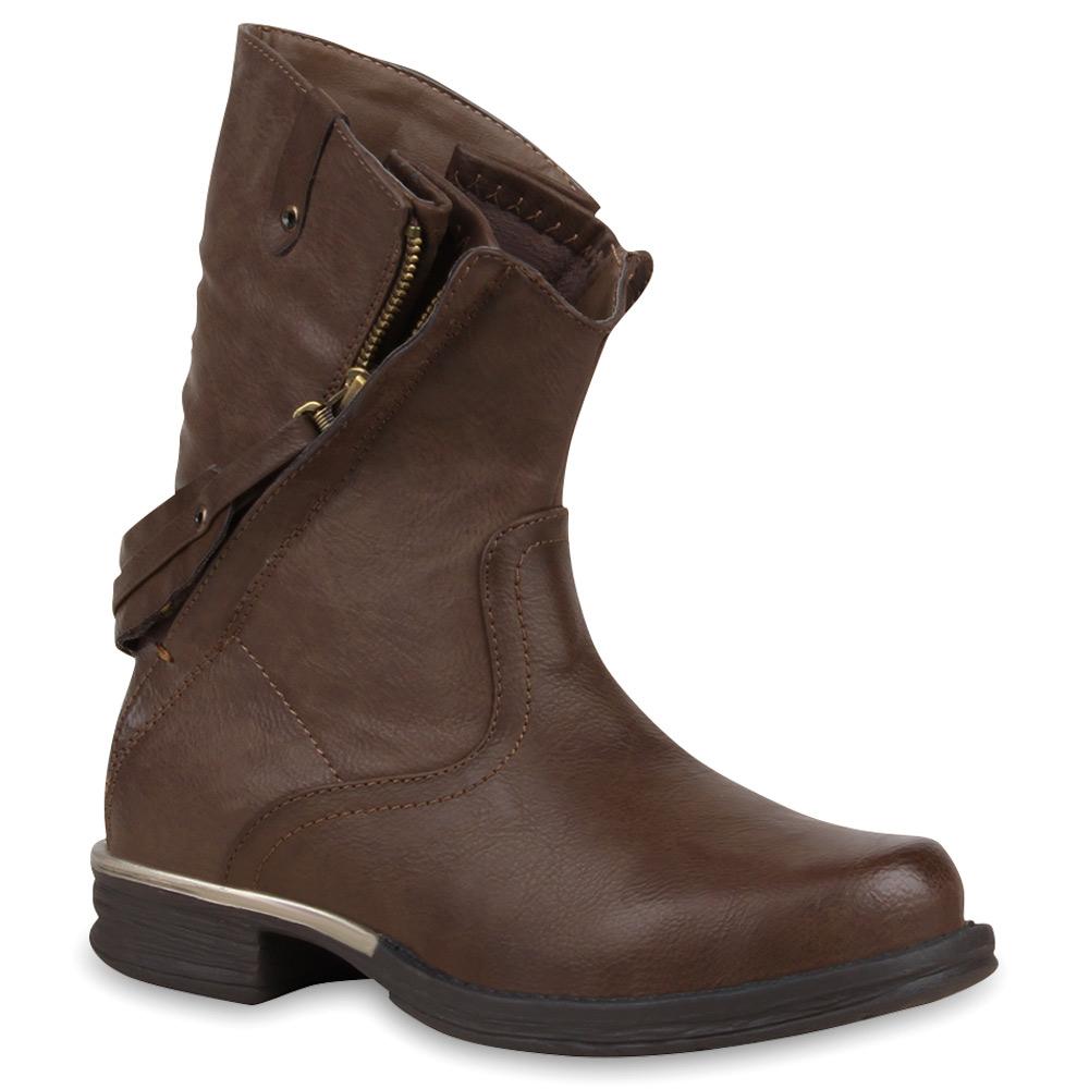 extravagante damen stiefeletten boots zipper lederoptik 73521 schuhe ebay. Black Bedroom Furniture Sets. Home Design Ideas