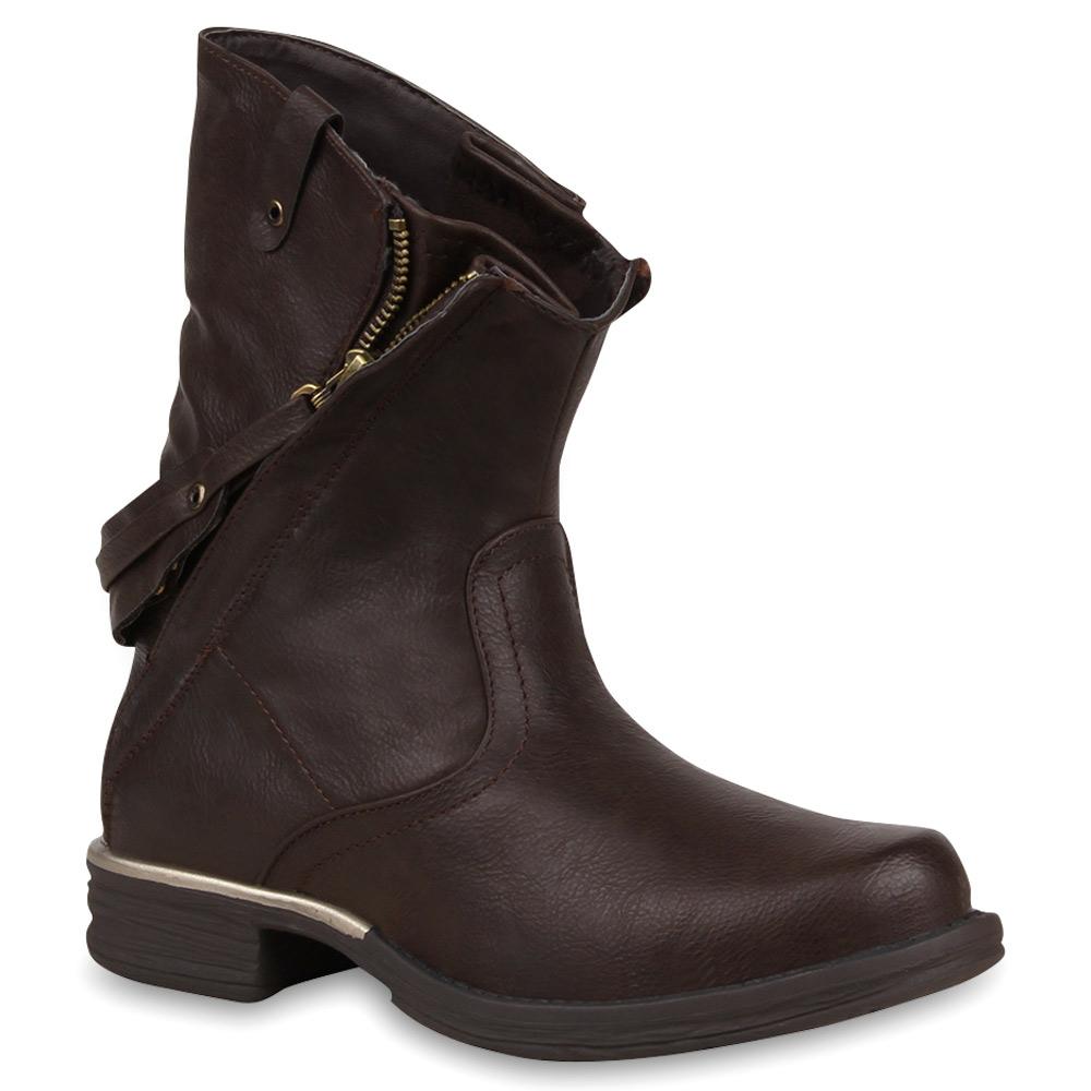 Extravagante Damen Stiefeletten Boots Zipper Lederoptik Schuhe 73521