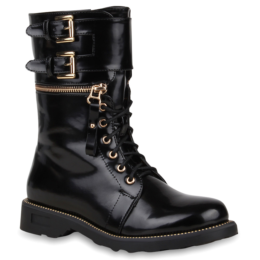 damen stiefeletten lack worker boots schn rstiefel zipper 73522 top ebay. Black Bedroom Furniture Sets. Home Design Ideas