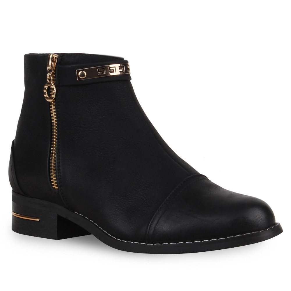 neu damen stiefeletten flache ankle boots zipper schuhe 173 614 ebay. Black Bedroom Furniture Sets. Home Design Ideas