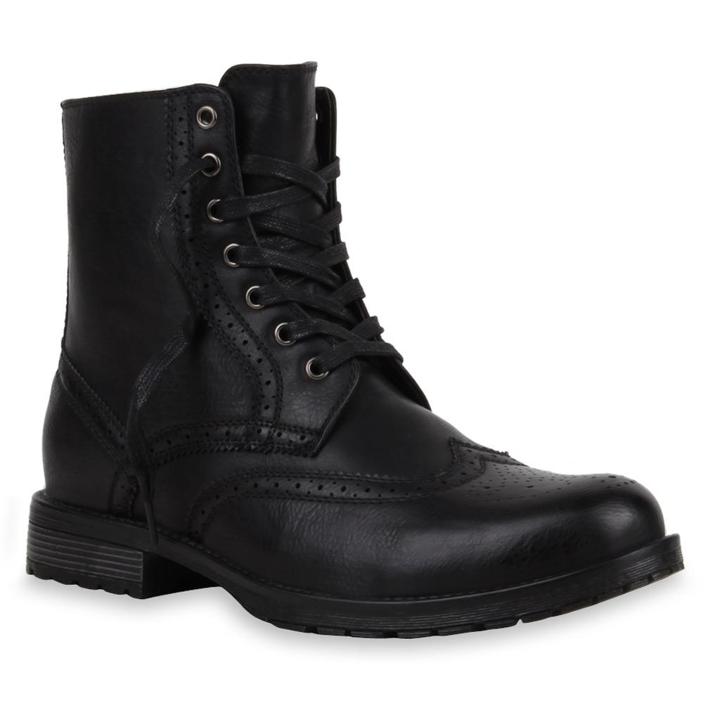 herren boots budapester style schn rstiefel lederoptik 73736 modatipp ebay. Black Bedroom Furniture Sets. Home Design Ideas