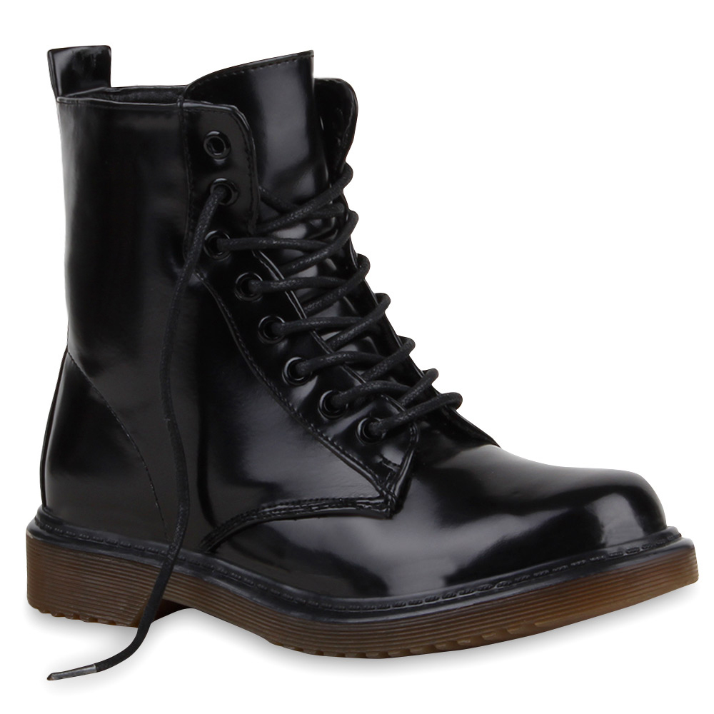 damen stiefeletten lack worker boots schn rstiefel 73761 trendy ebay. Black Bedroom Furniture Sets. Home Design Ideas