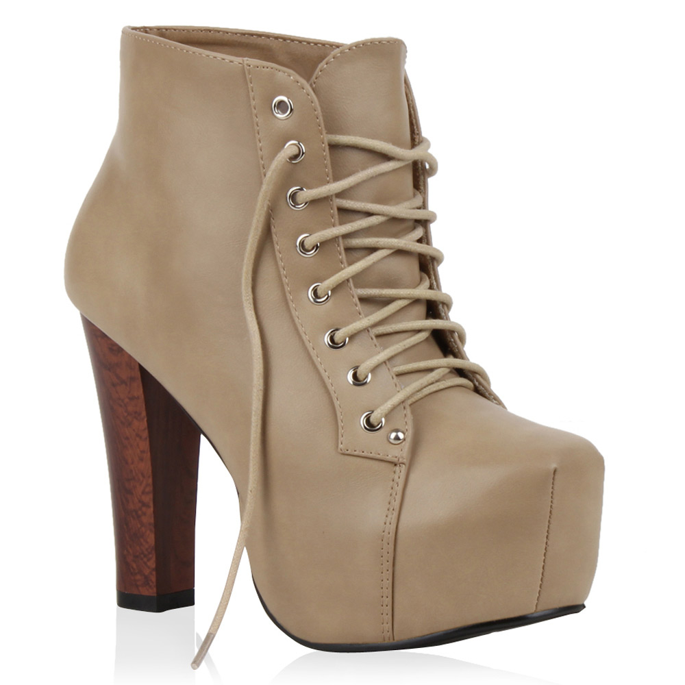 damen ankle boots 70 s plateau stiefeletten high heels. Black Bedroom Furniture Sets. Home Design Ideas