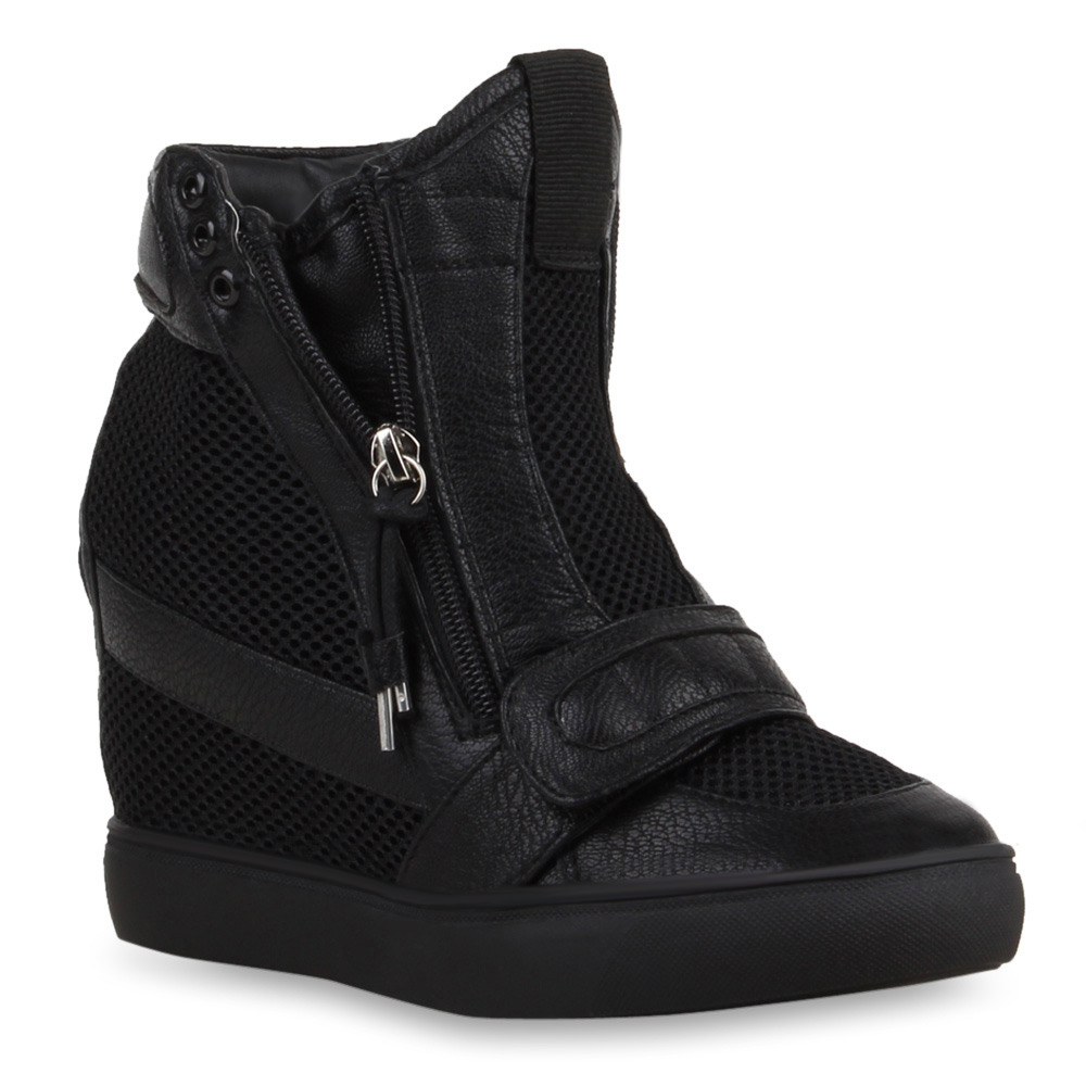 damen sneaker wedges high top sneakers schwarz wei 73800. Black Bedroom Furniture Sets. Home Design Ideas