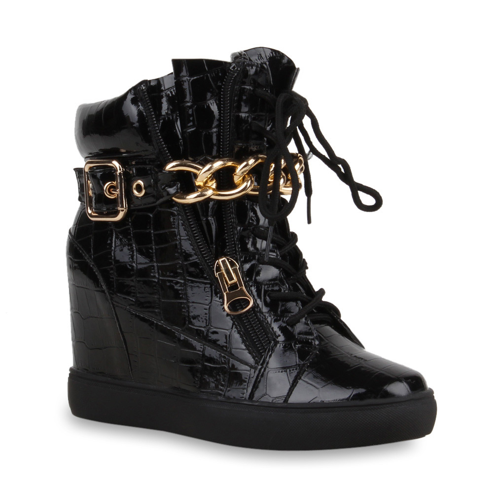 damen sneaker wedges high top sneakers kroko ketten 73811 ebay. Black Bedroom Furniture Sets. Home Design Ideas