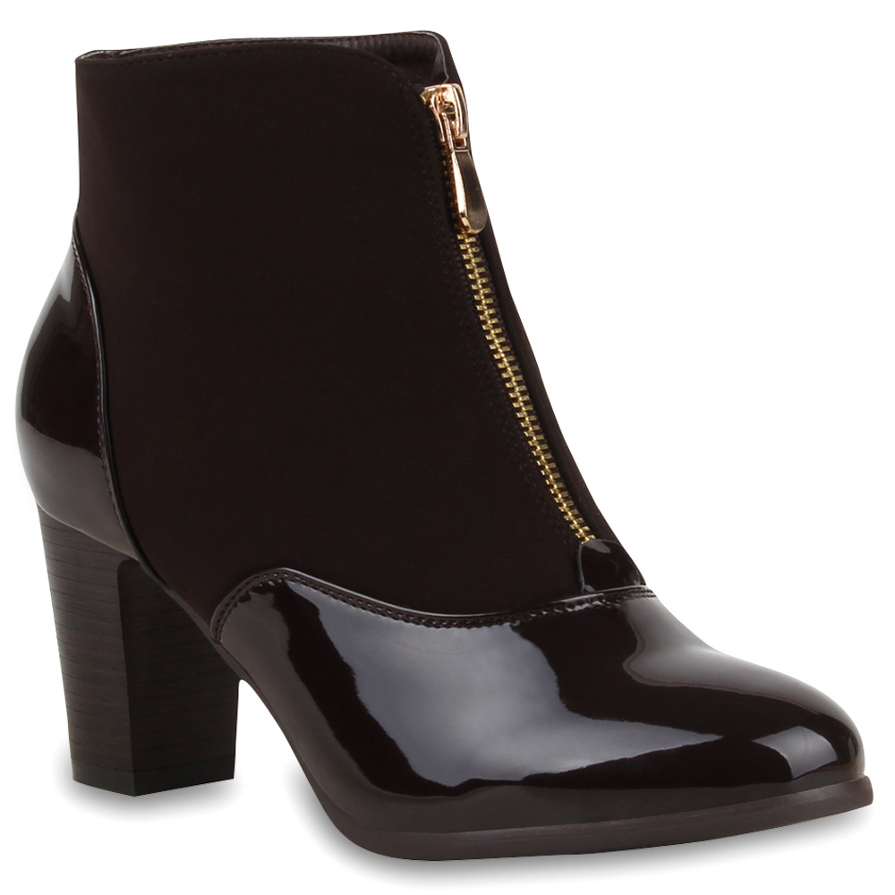 damen stiefeletten ankle boots lack high heels lederoptik 73923 trendy ebay. Black Bedroom Furniture Sets. Home Design Ideas