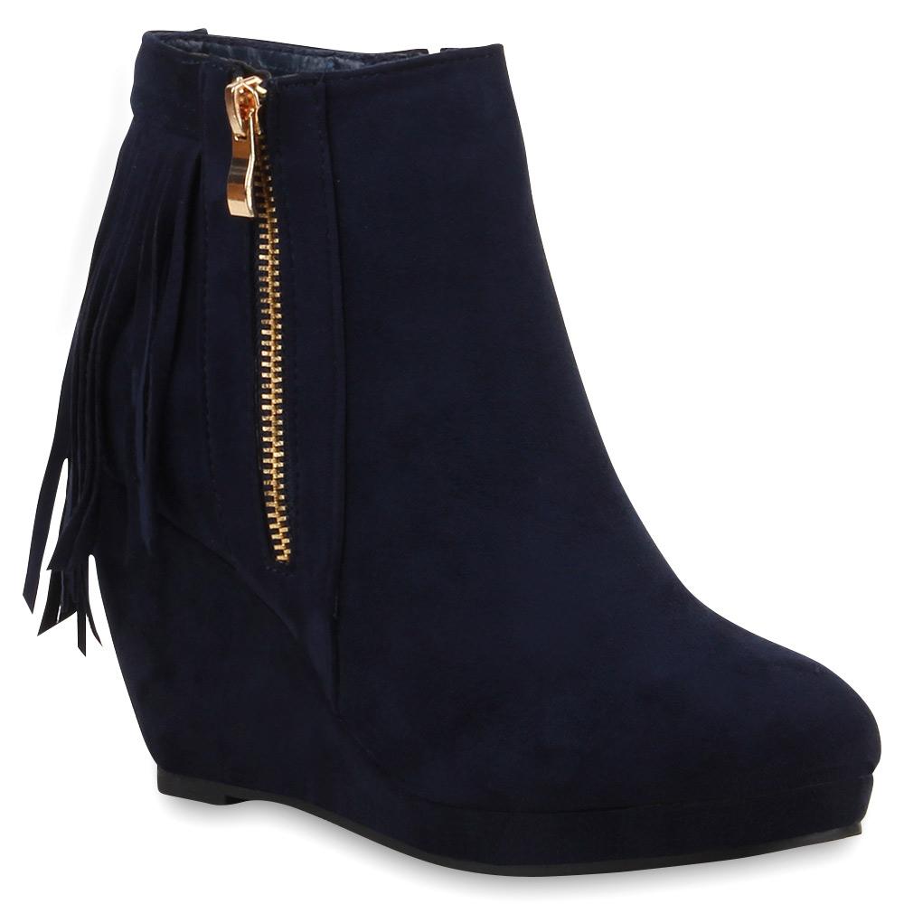 damen stiefeletten fransen boots keilstiefeletten hidden. Black Bedroom Furniture Sets. Home Design Ideas