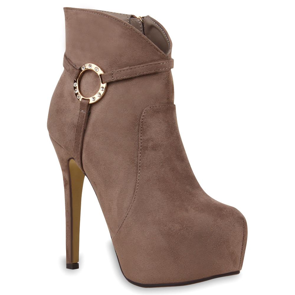 damen stiefeletten high heel plateau boots stiletto schuhe. Black Bedroom Furniture Sets. Home Design Ideas