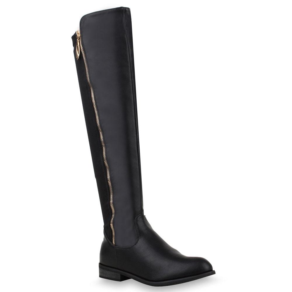 flache damen stiefel overknees schwarze langschaft boots 74019 top ebay. Black Bedroom Furniture Sets. Home Design Ideas