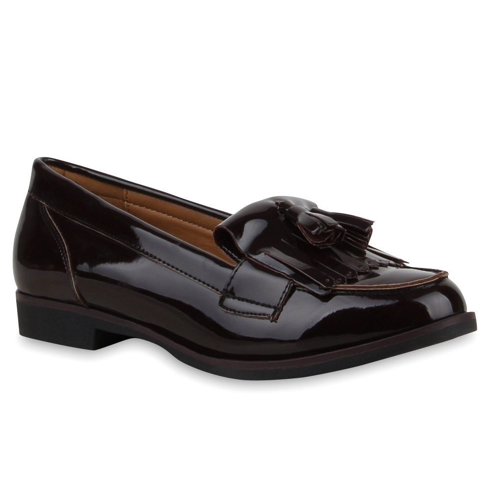 klassische damen slipper tassel loafers lack quasten schuhe 74116 trendy ebay. Black Bedroom Furniture Sets. Home Design Ideas