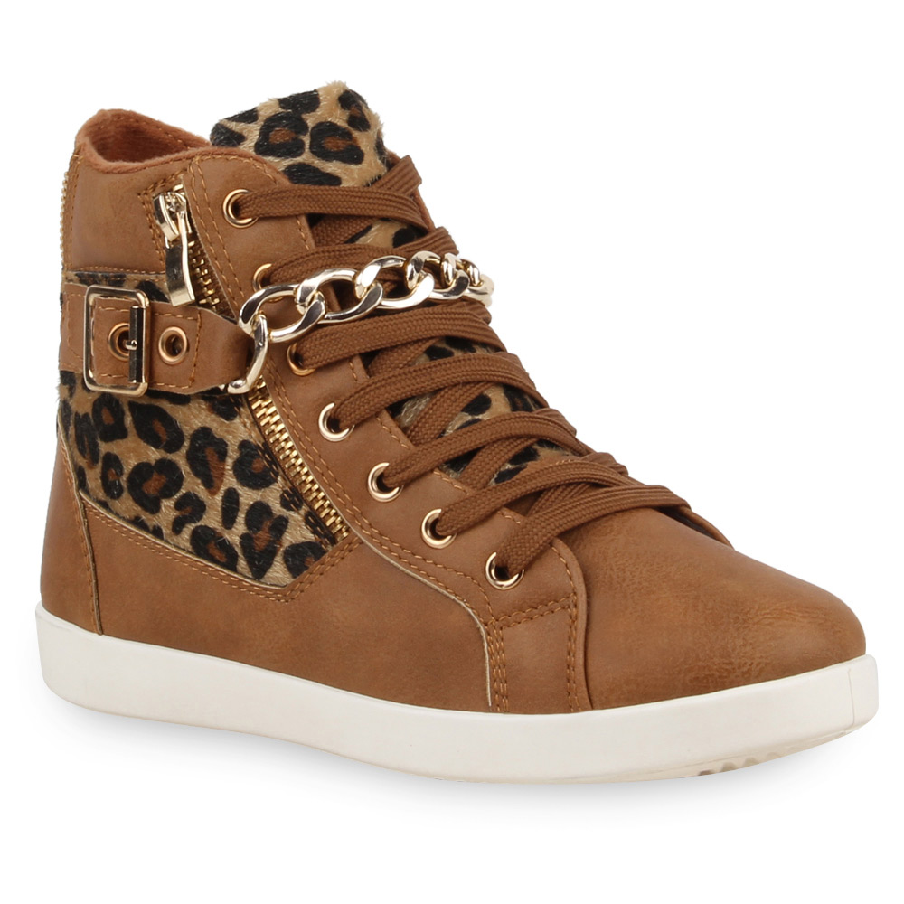 damen high top sneakers leo print ketten schuhe 74179 top ebay. Black Bedroom Furniture Sets. Home Design Ideas