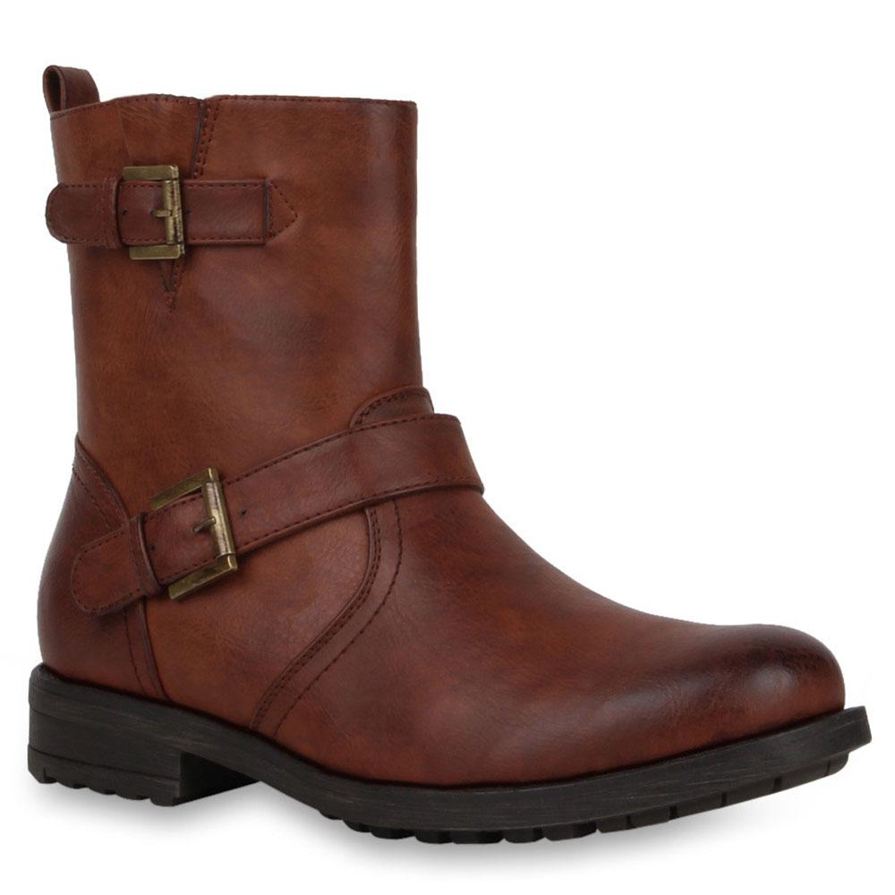 herren biker boots derbe stiefel lederoptik gef tterte schuhe 72867 ebay. Black Bedroom Furniture Sets. Home Design Ideas