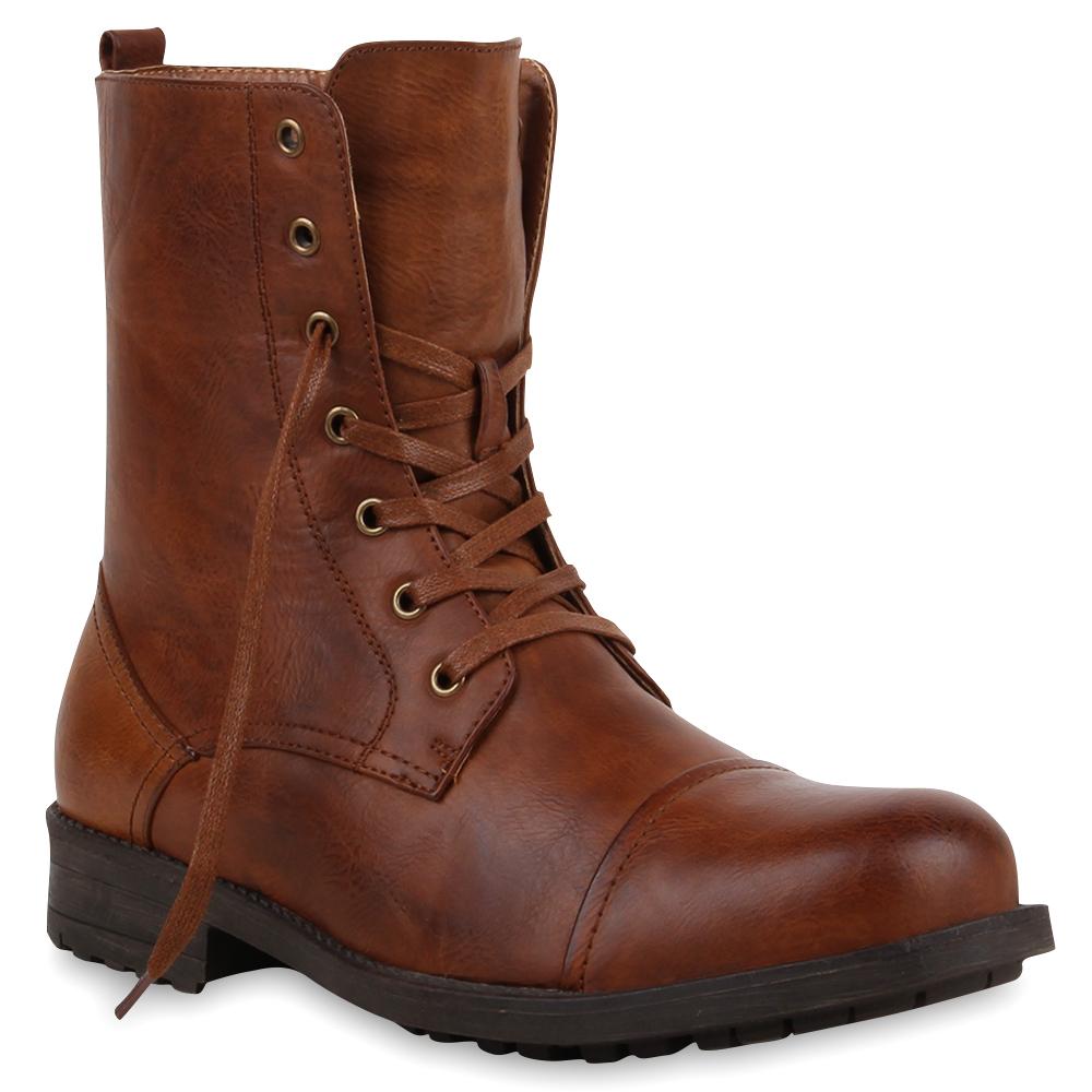 Warm Gefütterte Herren Worker Boots Schnürstiefel 74181 Top