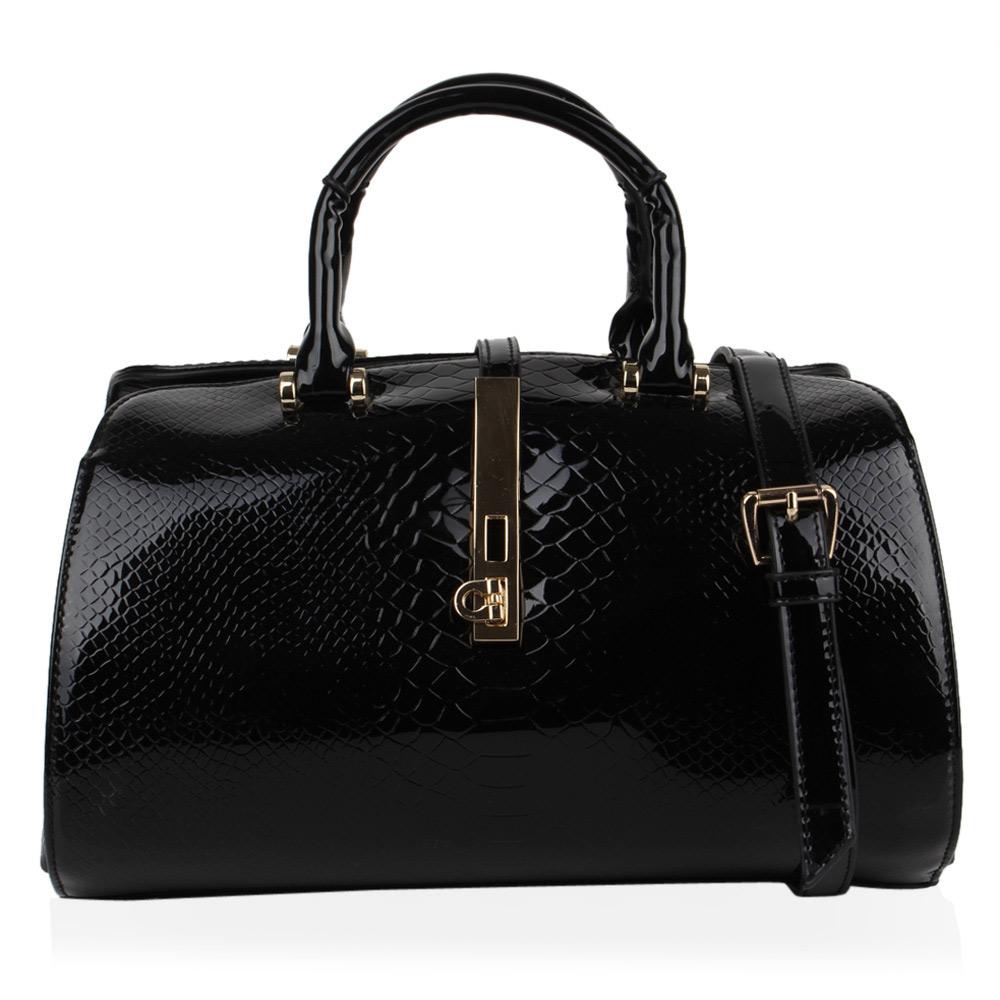 Stylische Damen Handtasche Umhängetasche Lack Kroko 74421