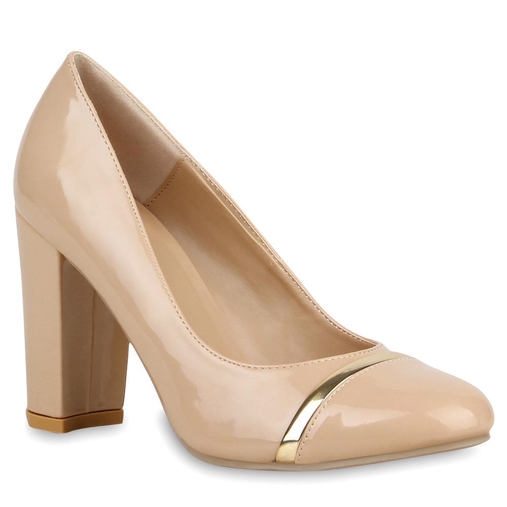 damen pumps lack schuhe high heels blockabsatz 74489 trendy ebay. Black Bedroom Furniture Sets. Home Design Ideas