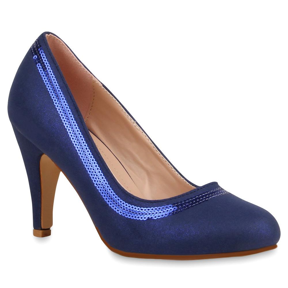elegante damen pumps pailletten high heels schuhe 74491 ebay. Black Bedroom Furniture Sets. Home Design Ideas