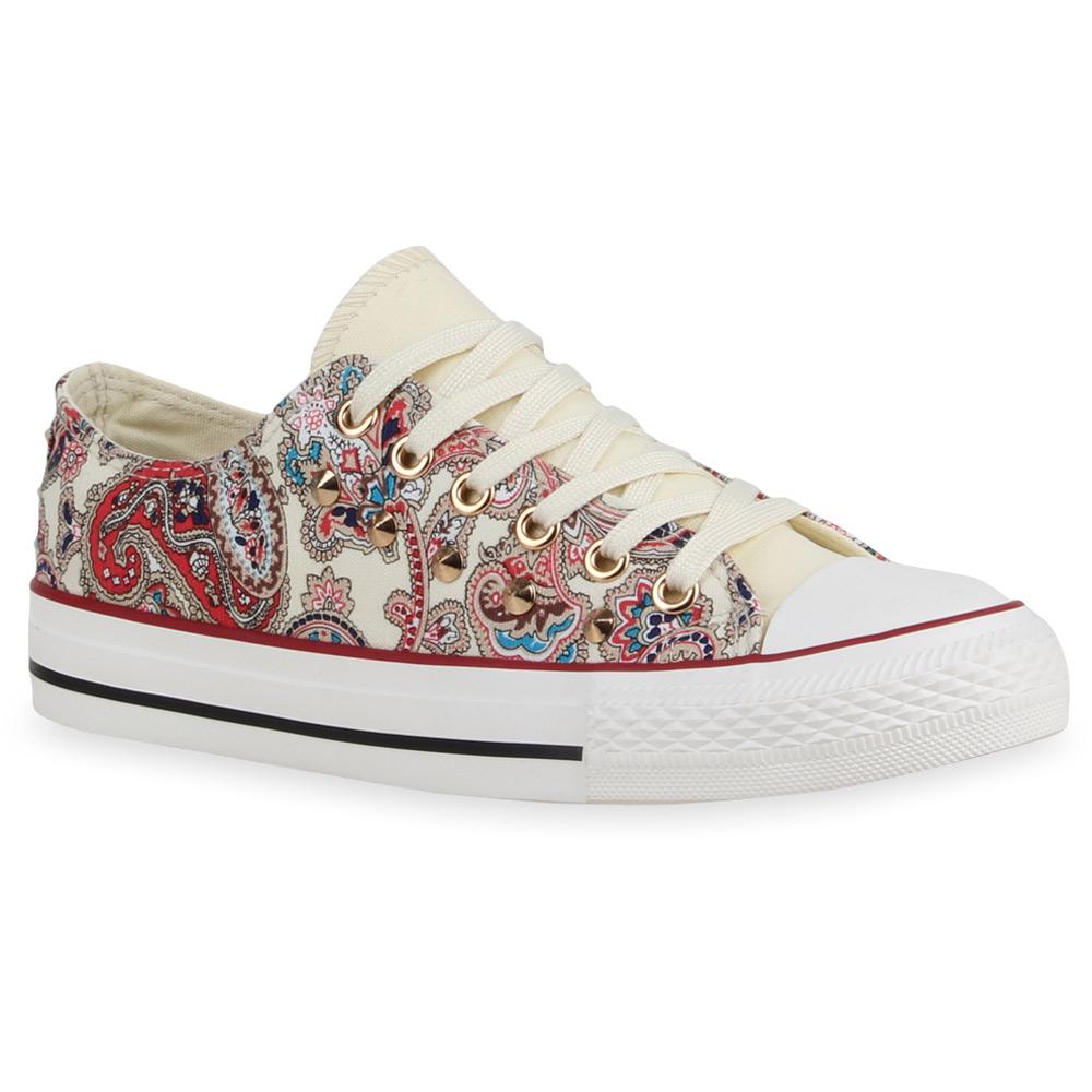 Damen Sneakers Paisley Print Nieten Sportschuhe 74561 Trendy