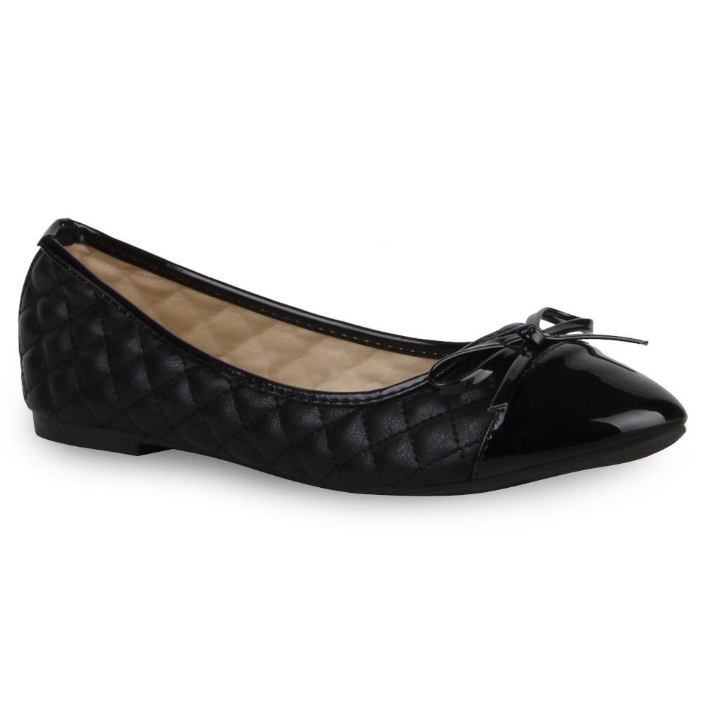 Gesteppte Damen Ballerinas Lack Slipper Flats Schuhe 74568 Top