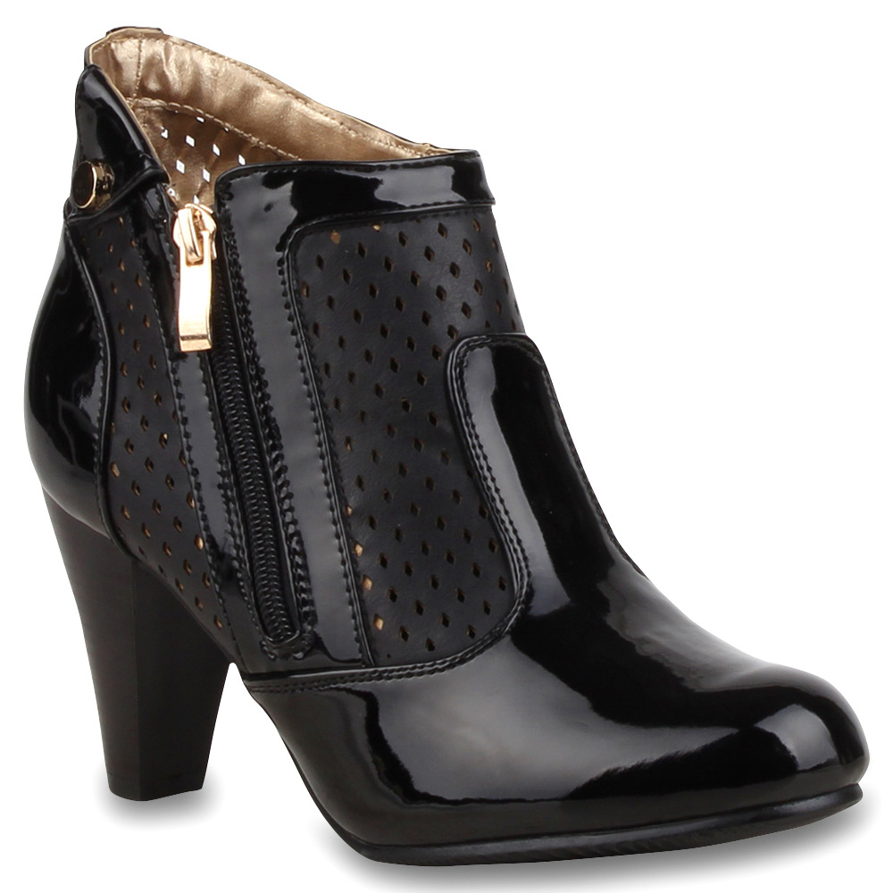 damen stiefeletten lack ankle boots schuhe 74622 ebay. Black Bedroom Furniture Sets. Home Design Ideas