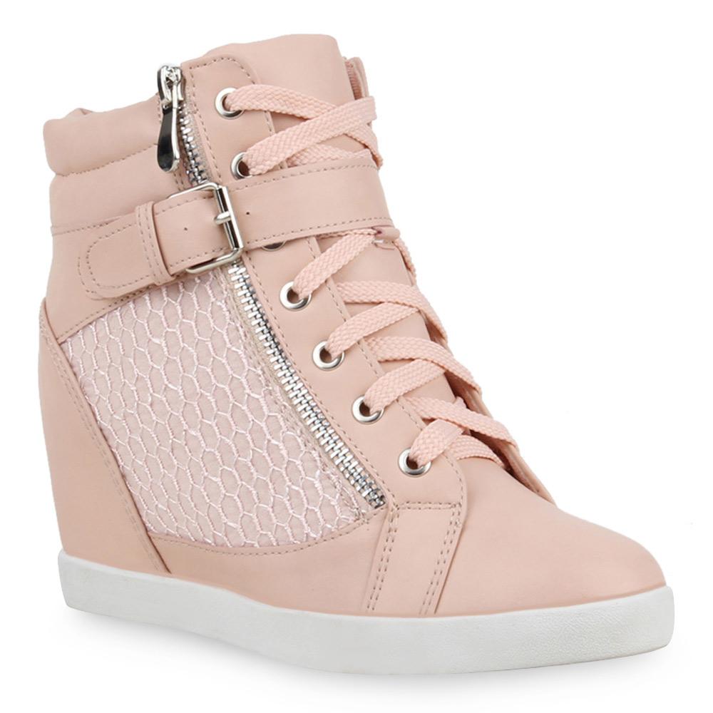 Damen Sneakers Keilabsatz Pastell Sneaker-Wedges 74636 Top