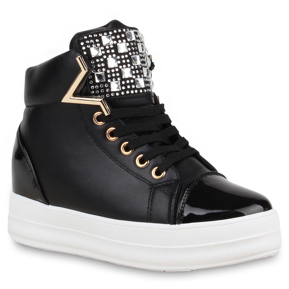 damen sneakers plateau sneaker wedges lack strass 74690. Black Bedroom Furniture Sets. Home Design Ideas