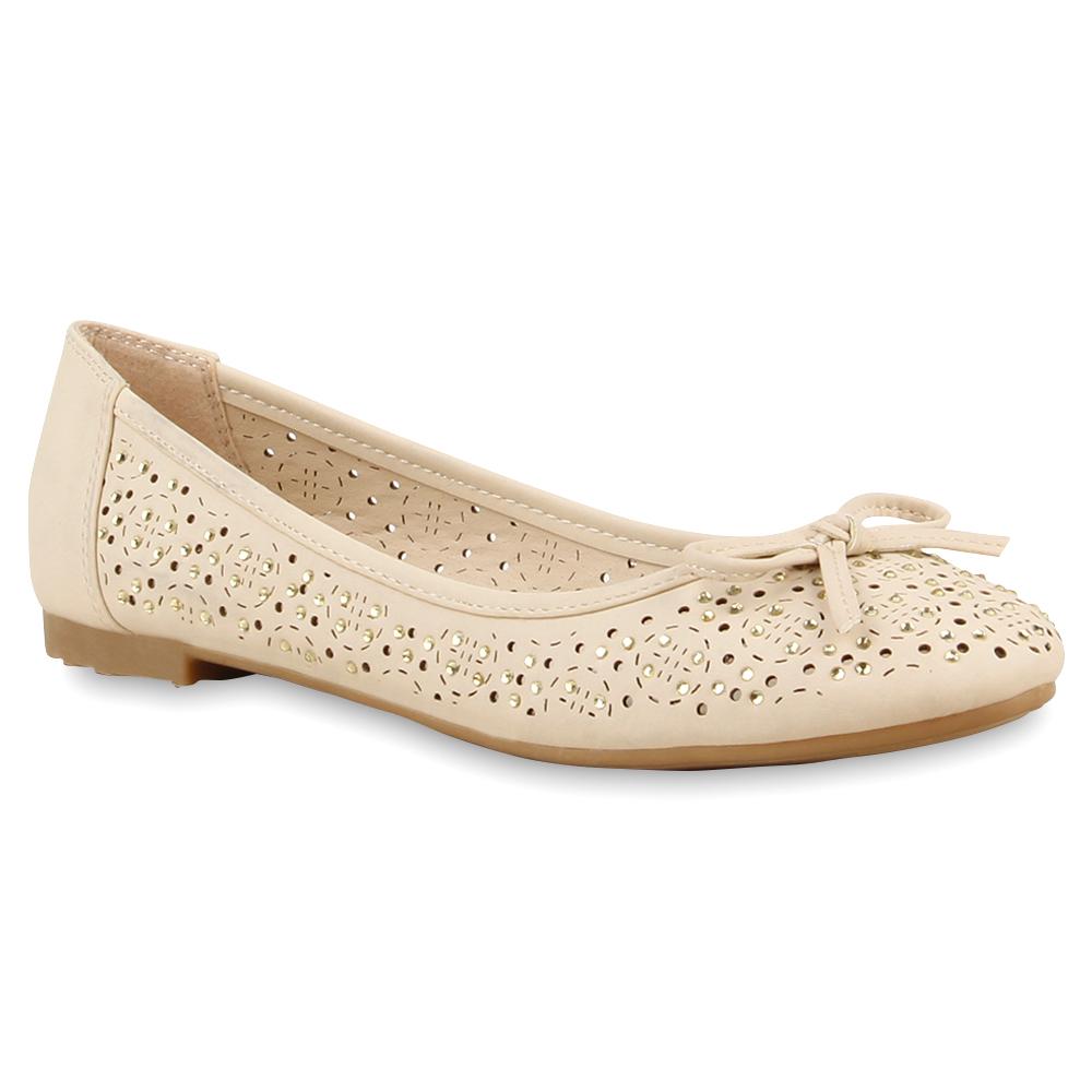 Damen Ballerinas Strass Schuhe Slipper Pastell Flats 74800