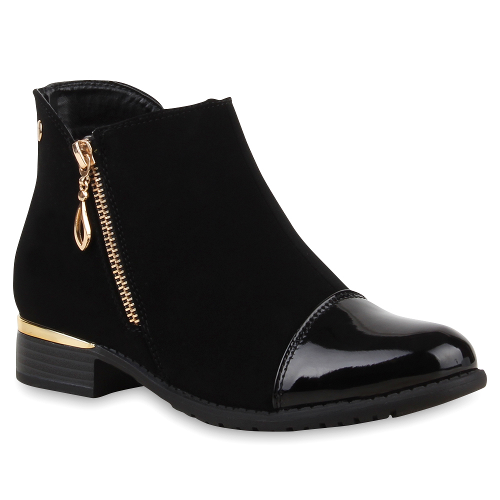trendy damen stiefeletten ankle boots lack zipper 74841 ebay. Black Bedroom Furniture Sets. Home Design Ideas