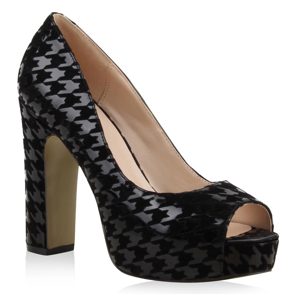 Elegante Damen Pumps High Heels Lack Samtoptik 74849 Trendy