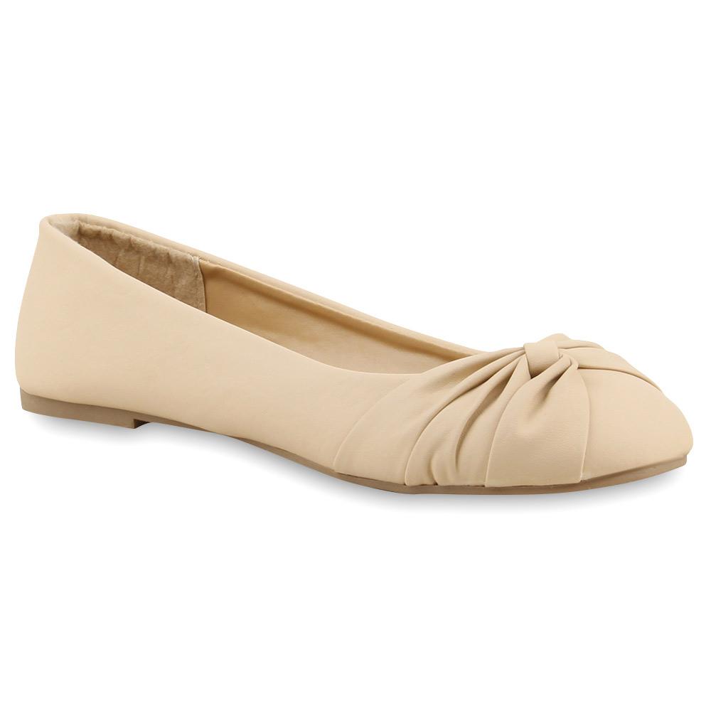 Klassische Damen Ballerinas Flats Slipper Lederoptik 74913