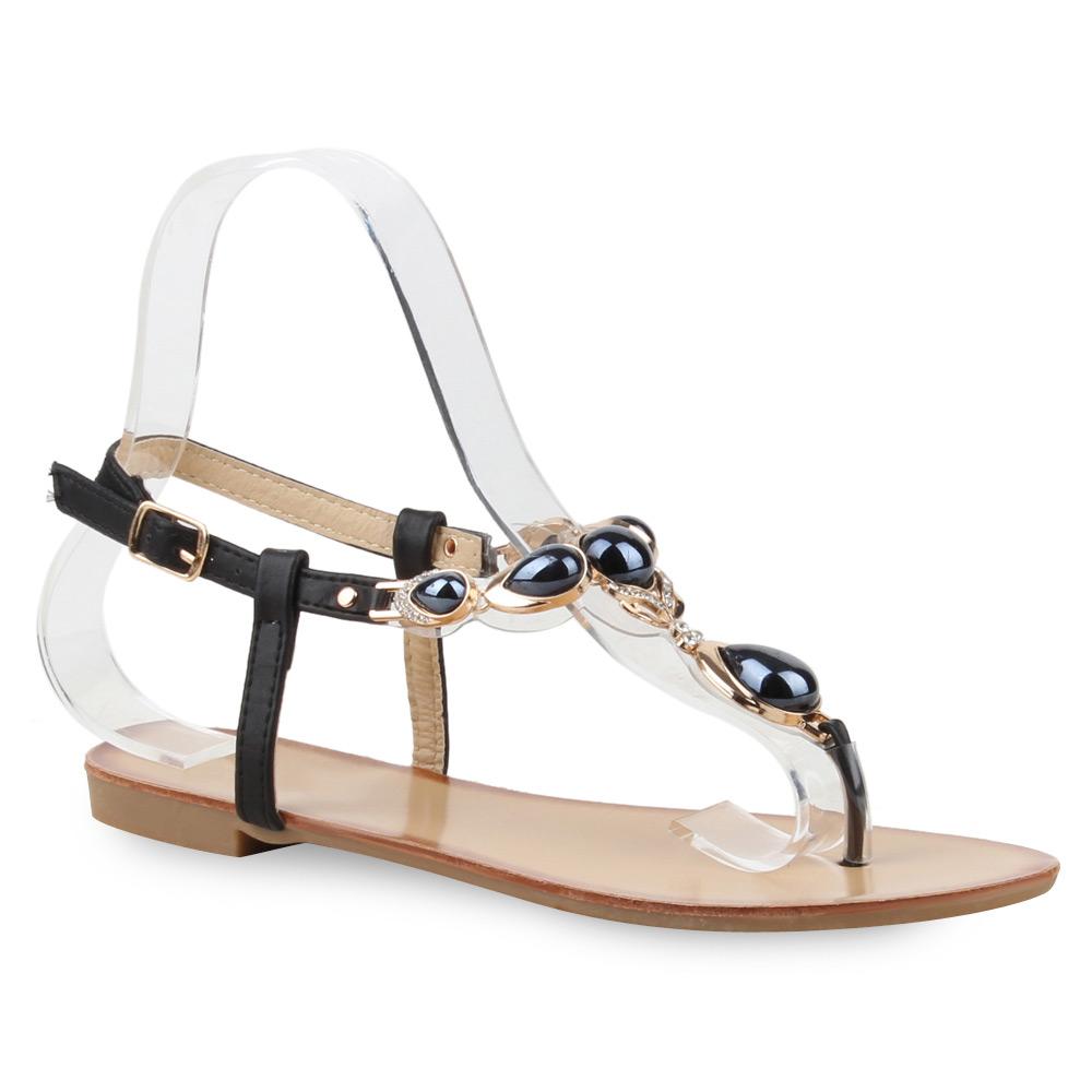 damen sandalen dianetten strass perlen strandschuhe 74917. Black Bedroom Furniture Sets. Home Design Ideas