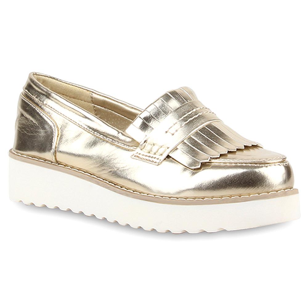 Details zu Damen Plateau Slipper Slip-ons Metallic Schuhe Profilsohle ...