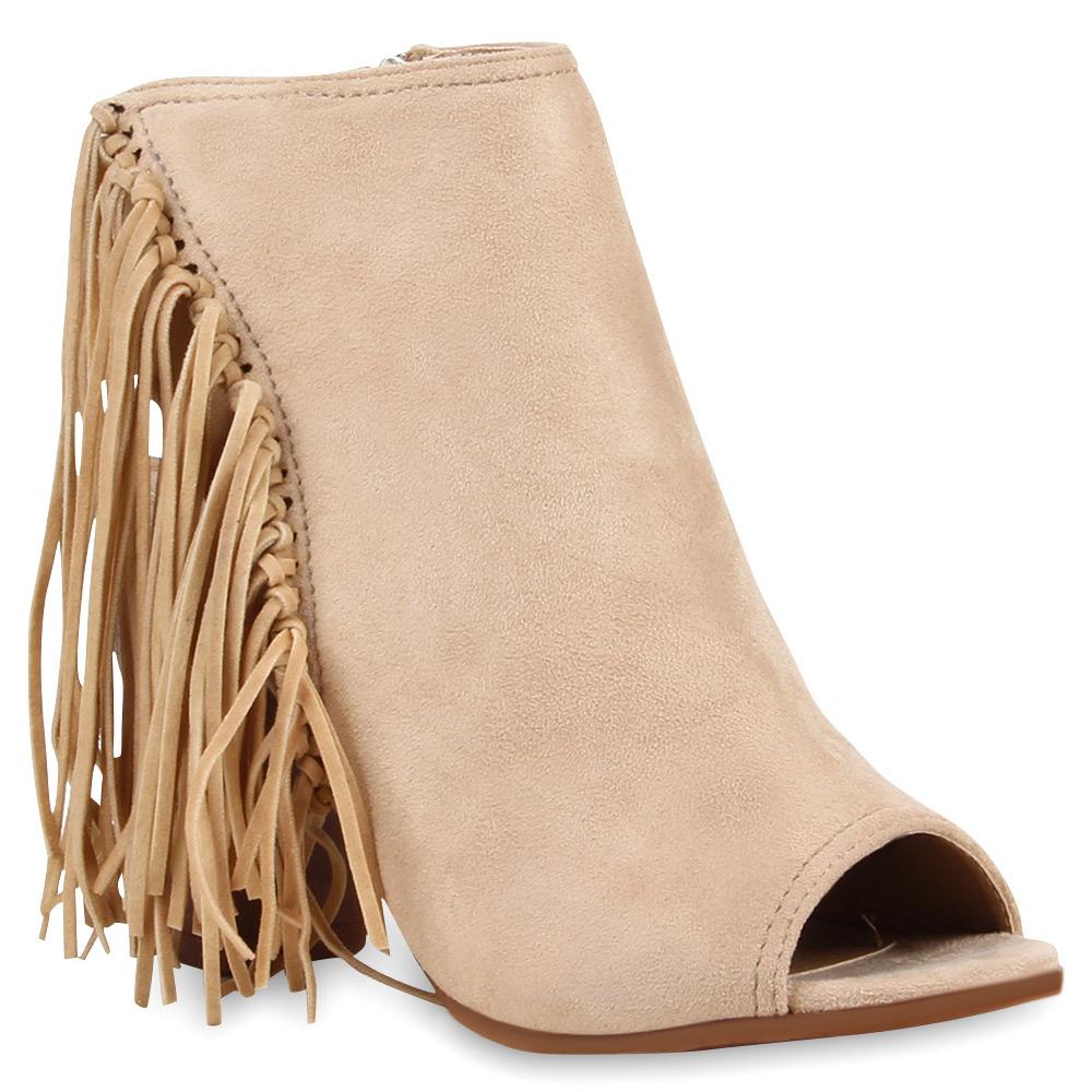 damen sandal boots schaftsandaletten fransen schuhe 74992. Black Bedroom Furniture Sets. Home Design Ideas