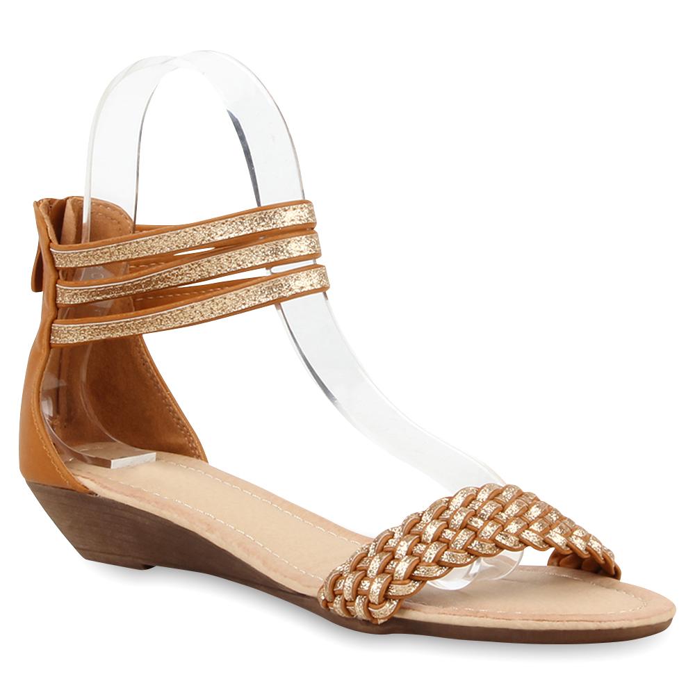 Damen Sandalen Glitzer Riemchensandalen Sommer Schuhe 74995 Trendy