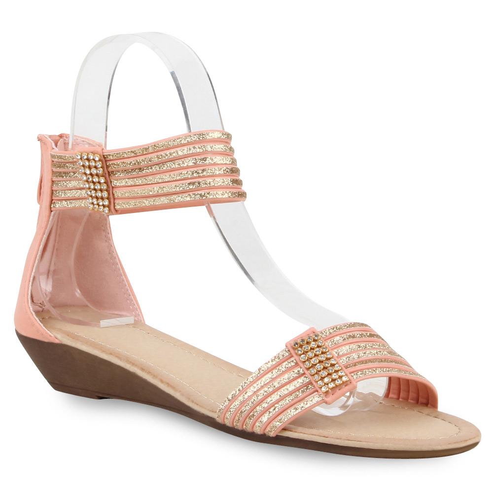 Damen Sandaletten Wedges Riemchensandaletten Strass Schuhe 75042 Top
