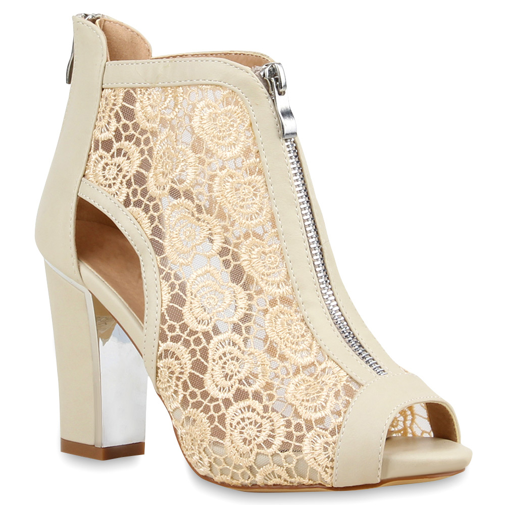Damen Sandal Boots Sandaletten Spitze Schaftsandaletten 75144