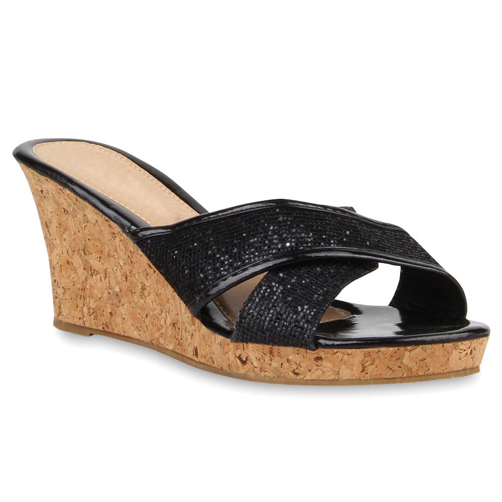 damen pantoletten glitzer wedges sandaletten kork keilabsatz 75166 ebay. Black Bedroom Furniture Sets. Home Design Ideas